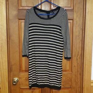 H&M tan and black striped sweater dress